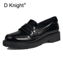 Women's Oxfords Round Toe Shallow Flats Platform Shoes Woman Fashion PU Creepers Loafers British Style Oxford Shoes For Women цена