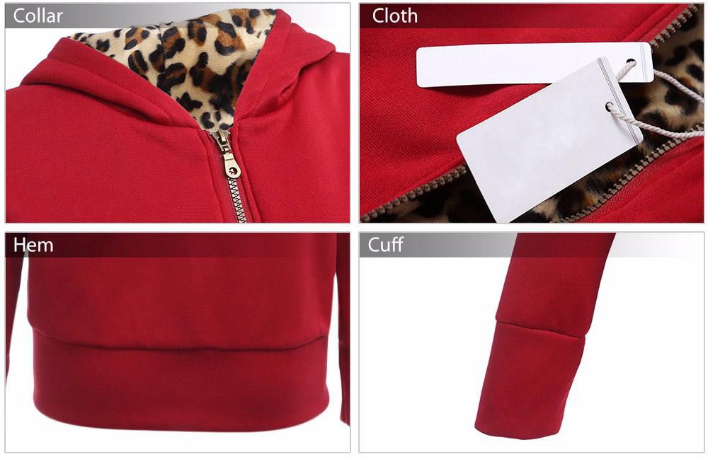 VESTLINDA Plus Size Women Winter Coat Trendy Hooded Women Outerwear Sweatshirts Stylish Leopard Print Zipper Coat Casual Jacket 8