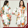 Large floral LF003 Silk Satin Wedding Bride Bridesmaid Robe Floral Bathrobe Short Kimono Robe  Fashion Dressing Gown For Women