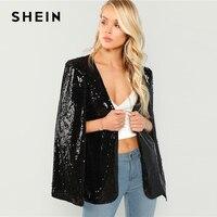 SHEIN Black Open Front Sequin Coat Rock Elegant Long Sleeve Blazer Modern Lady Fashion Women Autumn Workwear Outerwear