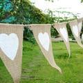12 pçs/set corda de juta linho triangular Galhardete Bandeira Da Bandeira da Festa de Aniversário Do Coração De Linho Casa Casamento Decoração fontes do evento Serapilheira