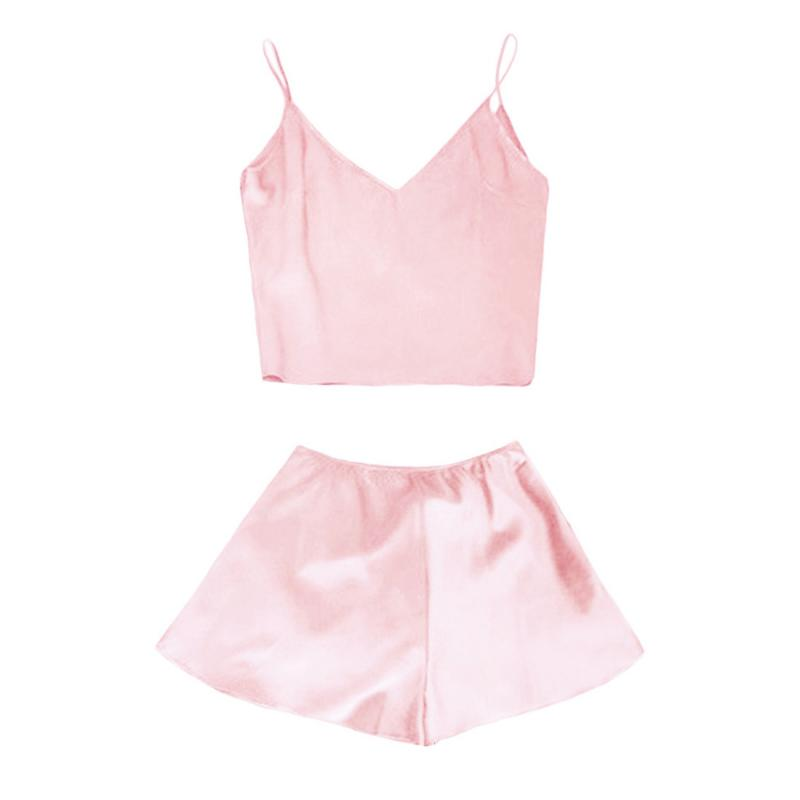 2Pcs Women Pajama Sets  Sexy Solid Crop Top + Hot Shorts Nightwear Set Smooth Ladies  Sleep Set Cotton Blend Femme Lingerie Sets