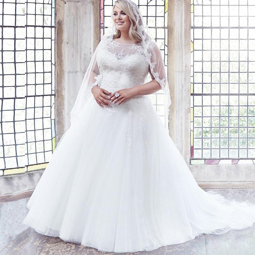 Modest Scoop Cap Sleeves Plus Size Wedding Dresses A-line Tulle Appliqued Bridal Gown Customized Vestidos De Novia 2020 Trouwjur