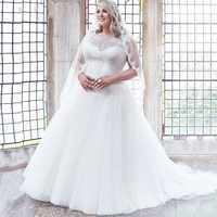 Modest Scoop Cap Sleeves Plus Size Wedding Dresses A-line Tulle Appliqued Bridal Gown Customized Vestidos de Novia 2019 trouwjur