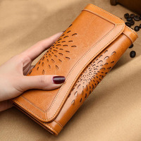 2018 New luxury fashion hollow wallet female long section of large capacity women's wallet credit card bags