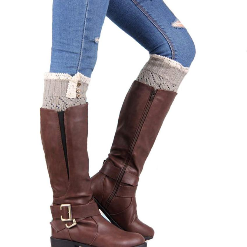 snowshine4 #5017 Women Lace Stretch Boot Leg Cuffs Boot Socks