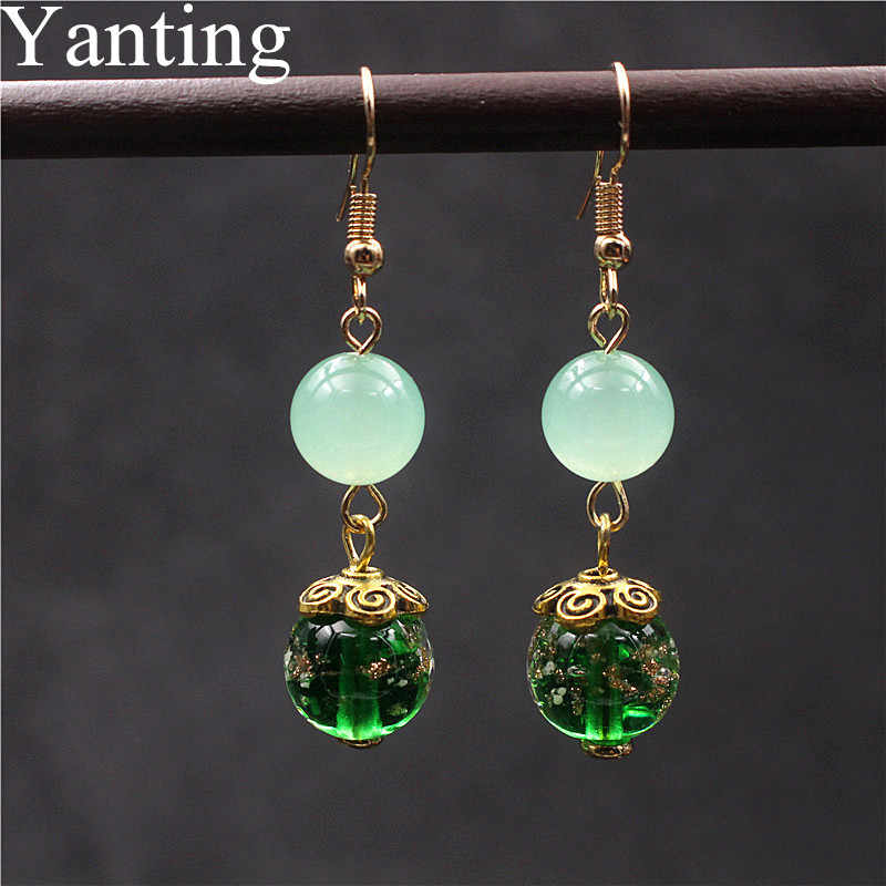 Yanting Vintage Tibetan Dangle Earrings For Women Glass Glazed Beads Natural Stones Earings Fashion Jewelry Flower Gift 0435