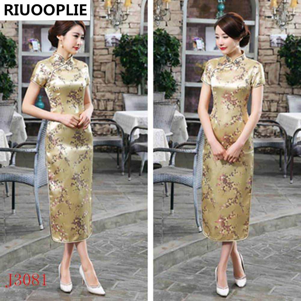 RIUOOPLIE Kinesisk stil kjole kvinner Long Cheongsam Elegant Slim - Nasjonale klær - Bilde 6