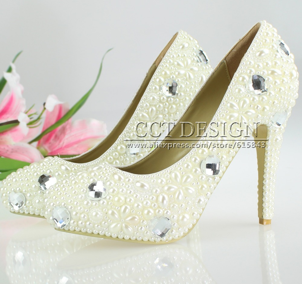 new crystal and pearl wedding bridal shoes low high heels evening party banquet sweet girls shoes rhinestone pumps