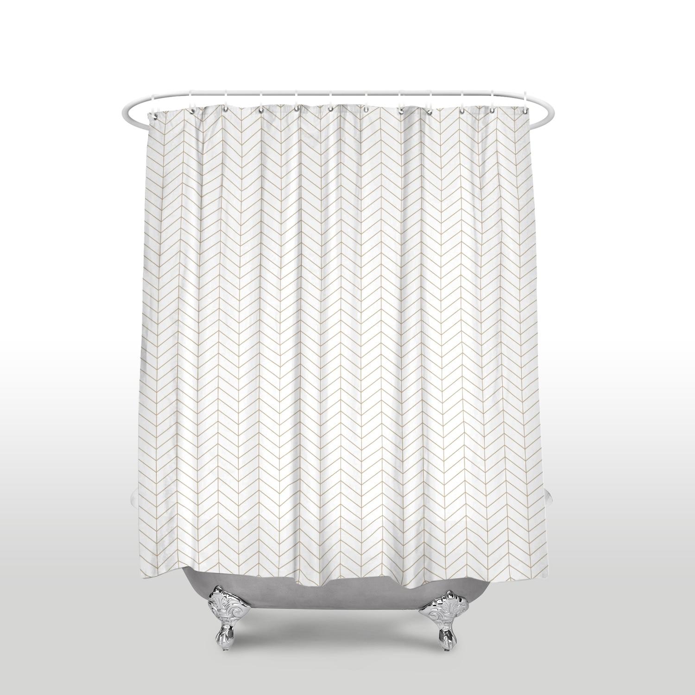 New Waterproof Simple Geometric Pattern Shower Curtain With Hooks