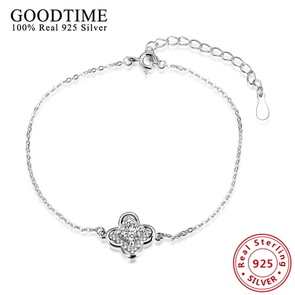 Bracelets For Women 2017 Lovely Link Chain Friendship Bracelets 925  Sterling Silver Jewelry Cz Crystal Lucky Leaf Charm Bracelet