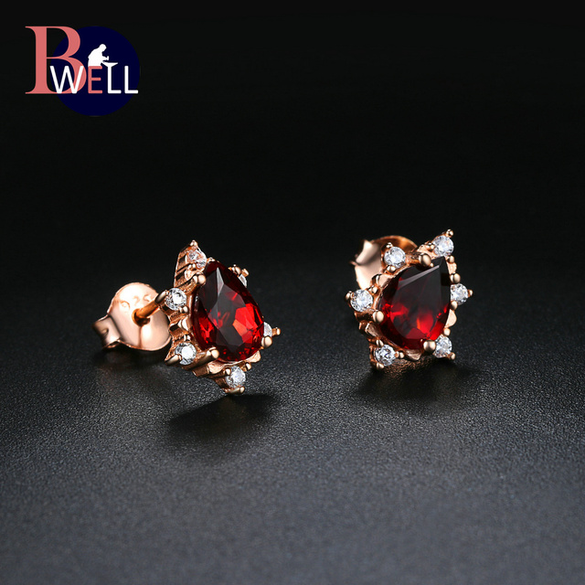 Bwell Natural Gemstone Red Pear Garnet Stud Earrings For Women Engagement 925 Sterling Silver Fine Jewelry Wholesale BWEI060