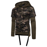 Men S Autumn Winter Casual Hoodies Army Military Long Sleeve Hoody Belt Sweatshirts Camouflage Fake Two