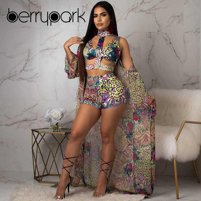5c9e2a9840 ... BerryPark 2019 Multi Print Swim Bikini Set + Cover Up 3 Pieces Sets  Women Swimsuit Bathing ...