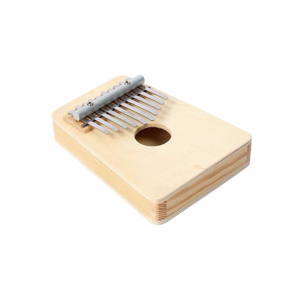 10 Teclas de Piano Kalimba Mbira Sanza Pulgar Pino Amarillo Claro/blanco Marfil Educación Musical Instrument