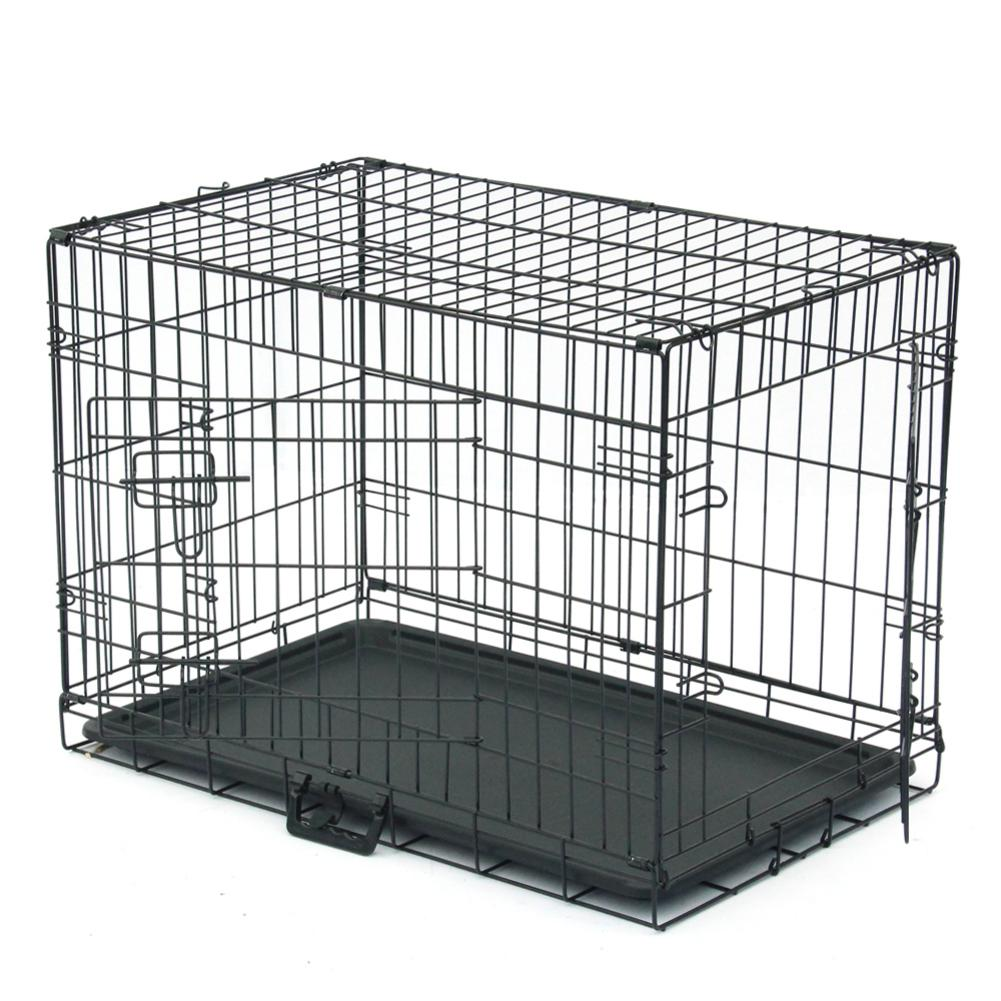 30 Pet Kennel Cat Dog Folding Steel Crate Animal Playpen Wire Metal Double Door Cage with Separate Fence and Plastic Tray