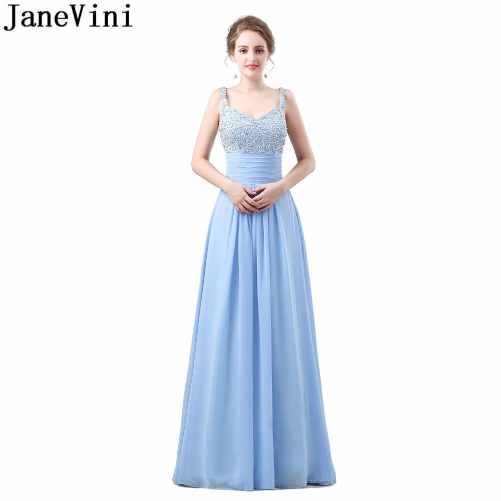 JaneVini Elegant V Neck Sky Blue   Bridesmaid     Dress   Formal Floor Length Beaded Long Wedding Party   Dress   Sequin Chiffon Party Gowns
