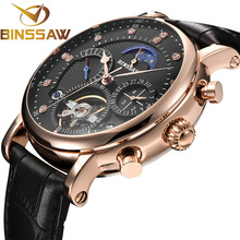BINSSAW Men Automatic Mechanical Watch Tourbillon Luxury Brand Fashion Genuine Leather Multifunctional Watches relogio masculino цена в Москве и Питере