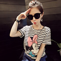 2017 Hot  Blusa Tumblr Funny T Shirts T-shirts For Women T Shirt Tee Tops Cartoon Anime Cute Mouse Striped Clothing Vetement