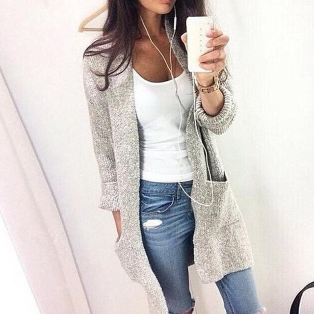 Otoño Invierno de Manga Larga Bolsillo Grande suéteres Largos Mujeres Loose Knitting Cardigan Suéteres S4