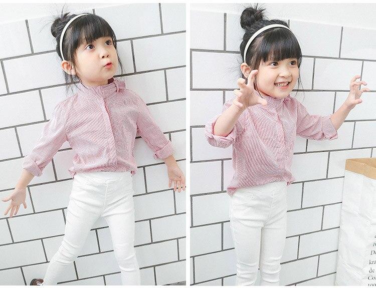 ESHOO Little Girl Flower Collar Stripe Long Sleeve Shirt Spring Autumn Tops