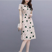 купить Fashion Dot Print Thin Slim High Waist Summer Dress Plus Size 3XL Short Sleeve O-Neck Midi A-Line Dresses For Women Vestidos по цене 280.06 рублей