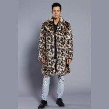 dfdac631fc New Men's Leopard Winter handsome fur Clothing man casual Fur Overcoat Warm  Faux Fur Jacket Man