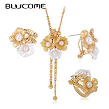 Blucome Three Tones Double Flower Butterfly Gold Jewelry Sets For Women Imitation Pearls Wedding Dubai Necklace Earring Ring Set(China)