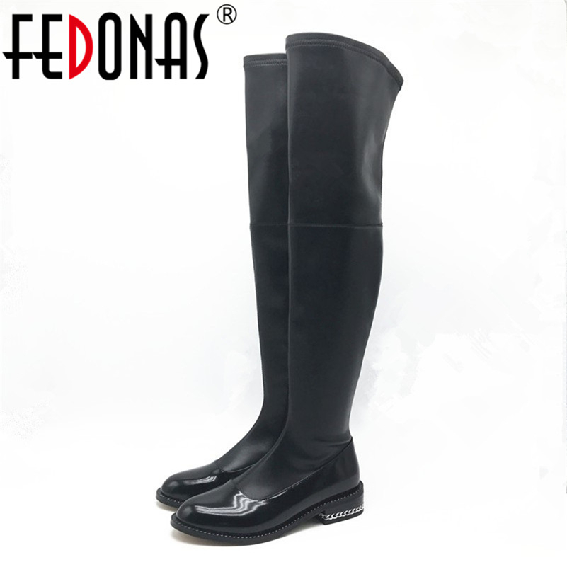 FEDONAS 2017 Brand Stretch Genuine Leather font b Shoes b font Woman Over The Knee Boots