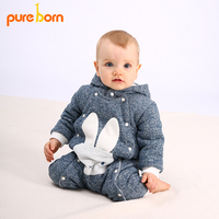Pureborn Hooded Baby Rompers Overalls for Children Cartoon Rabbit Baby Girl Boys Clothes for Newborns Cotton Jumpsuit Warm Thick