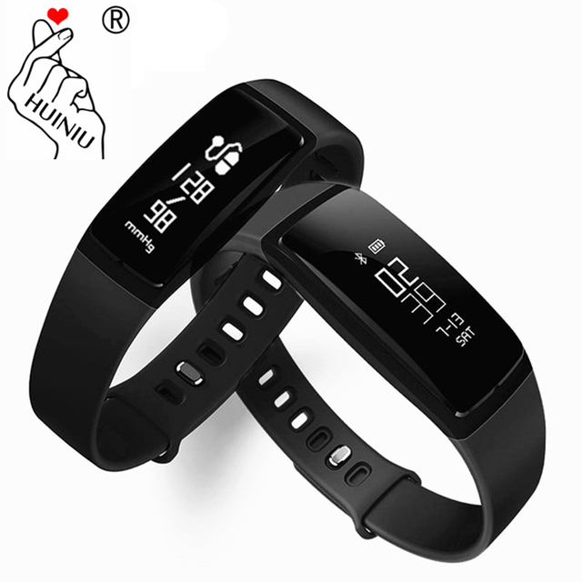 Huiniu V07 Smart Wristband Band Heart Rate Blood Pressure Pedometer Alarm Bracelet Fitness Tracker Call Remind
