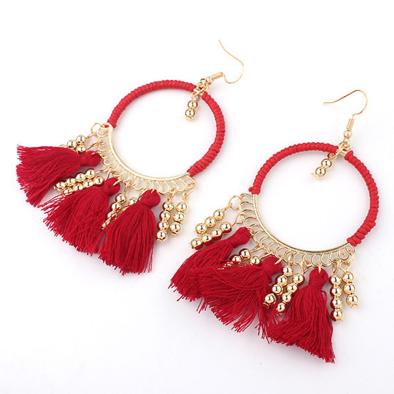 boho ethnic long thread tassel earrings women handmade red braided