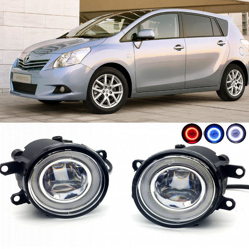 For Toyota Verso 2009-2017 Verso S 2011 2 in 1 LED Cut-Line Lens Fog Lights Lamp 3 Colors Angel Eyes DRL Daytime Running Lights car styling 2 in 1 led angel eyes drl daytime running lights cut line lens fog lamp for land rover freelander lr2 2007 2014