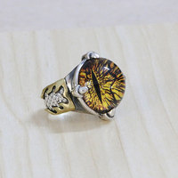 925 silver ring inlaid eyes Japan male personality glass jewelry shinv trendsetter