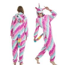 2018 Wholesale Animal Kigurumi Stitch Bear Rainbow Unicorn onesie Adult Unisex Women Hooded Sleepwear pajamas New