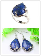 Kraft-beads Resizable Lapis Lazuli Ring Silver Plated Water Drop Earrings Ethnic Style Jewelry Sets