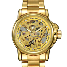 цены New Women Skeleton Mechanical Rhinestone Gold Watch Small Stainless Steel Automatic Self-wind ladies Watches golden Clock