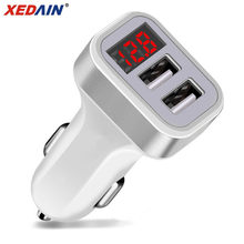 2.1A Dual USB Port Digital LED Voltage Current Display Car Charger Charging Adapter For iPhone iPad Samsung Xiaomi Huawei Phone(China)