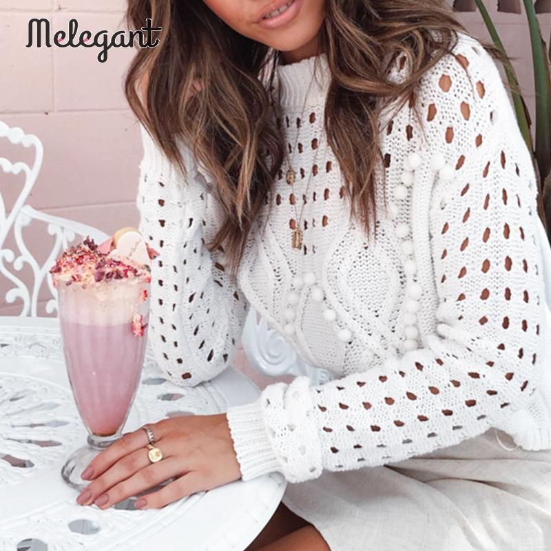 Melegant Autumn Winter 2019 Women Sweaters Sexy Hollow Out Ball Decoration Knitwear Sweater Jumpers Female Plus Size Pullovers in Pullovers from Women 39 s Clothing