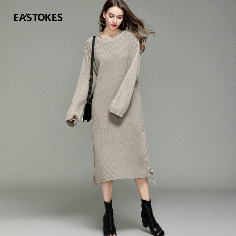 Women Maxi Length Sweaters With Rope Weaving Side Ladies Knitted Dress Sweater Autumn Winter Basic Sweaters Female Pullovers
