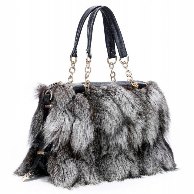 8ffb3b9edb90 2019 New Brand Girls Women Fashion Handbags Real Fur women Tote Bags Large  Capacity Fox fur