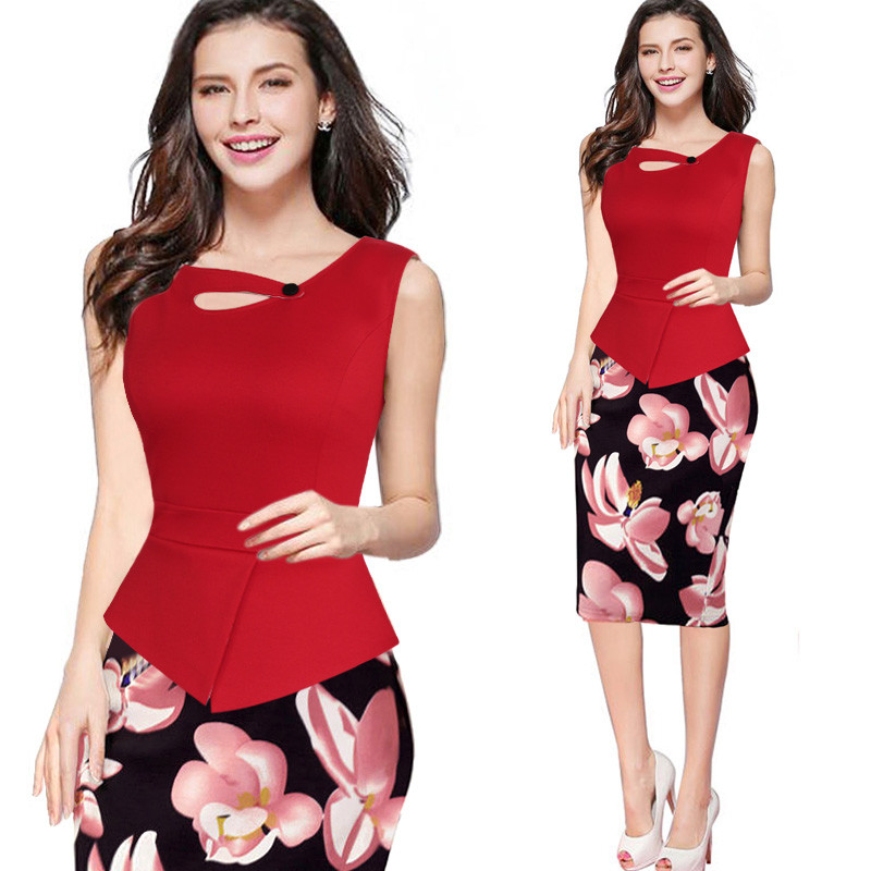 Womens 2016 New arrival Print Floral Solid Patchwork Button Casual Work Sleeveless Bodycon Summer office Dress