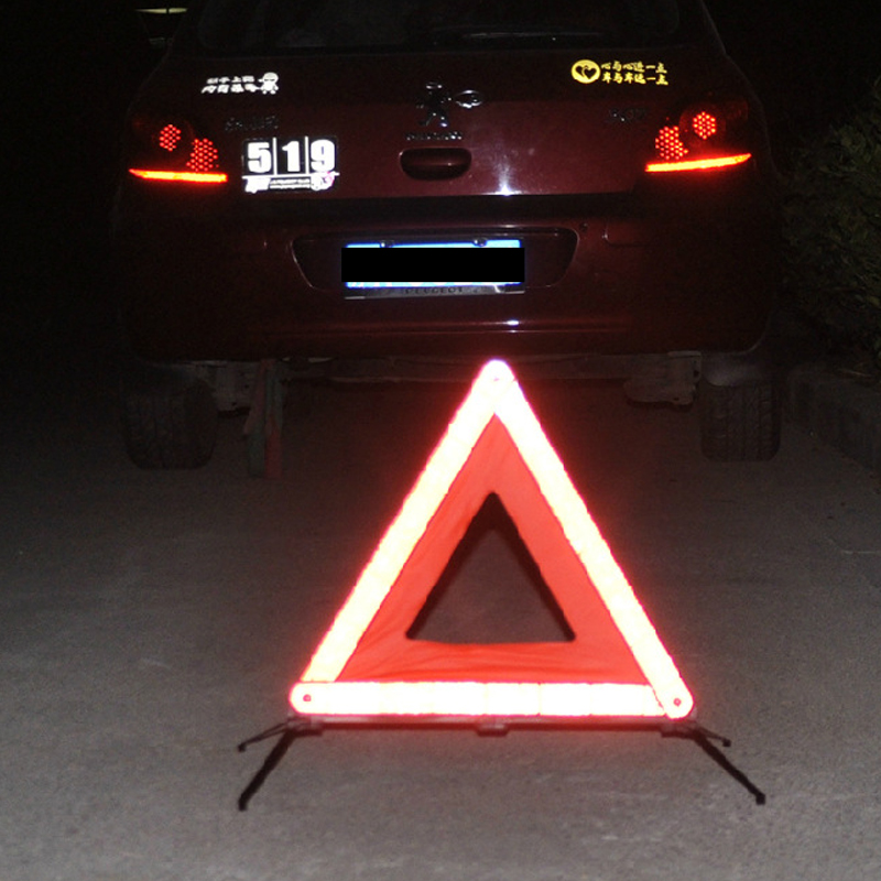 Car Reflective Triangle Tripod Warning Sign Vehicle Fail-Safe Stop Sign Emergency Hazard Sign Board Road Safety Triangle