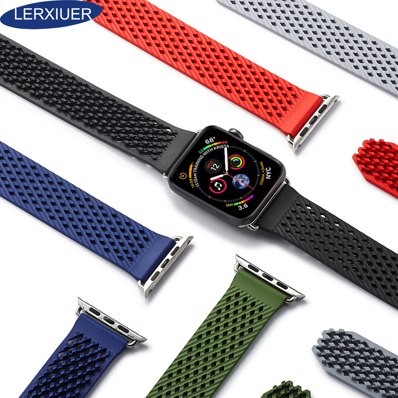 Lerxiuer Sport Band For Apple Watch series 4 44mm 42mm iwatch 4 3 2 1 40mm 38mm Silicone Strap Wristband Bracelet Accessories in Watchbands from Watches