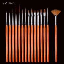 15pcs Nail Art Drawing Painting Brush Dotting Liner Pen Brush DIY Design Tips UV Manicure Tool Acrylic Fan Builder Carving