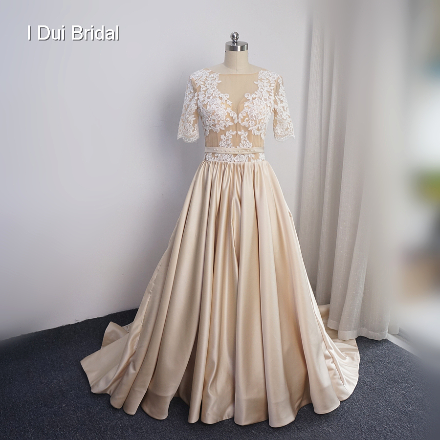 Champagne Vintage Wedding Dresses: Half Sleeve Champagne Satin Wedding Dress Vintage Lace Top