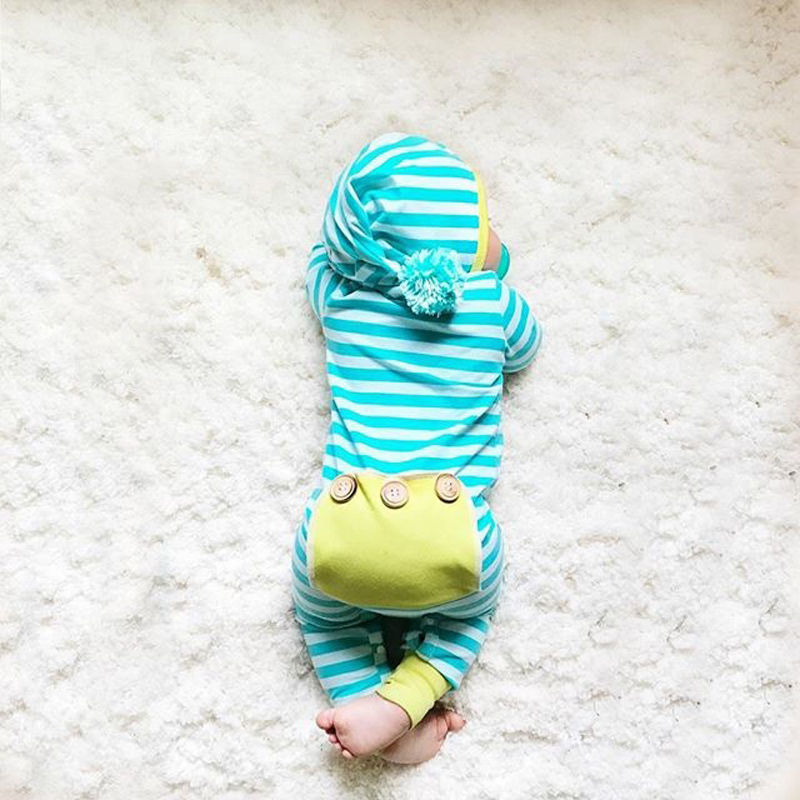 0-18M Newborn Baby Boy Girl Clothes Striped Hooded Romper Infant Bebes Cotton PP Pocket Playsuit One Pieces Tracksuit Outfit 2017 baby girl summer romper newborn baby romper suits infant boy cotton toddler striped clothes baby boy short sleeve jumpsuits