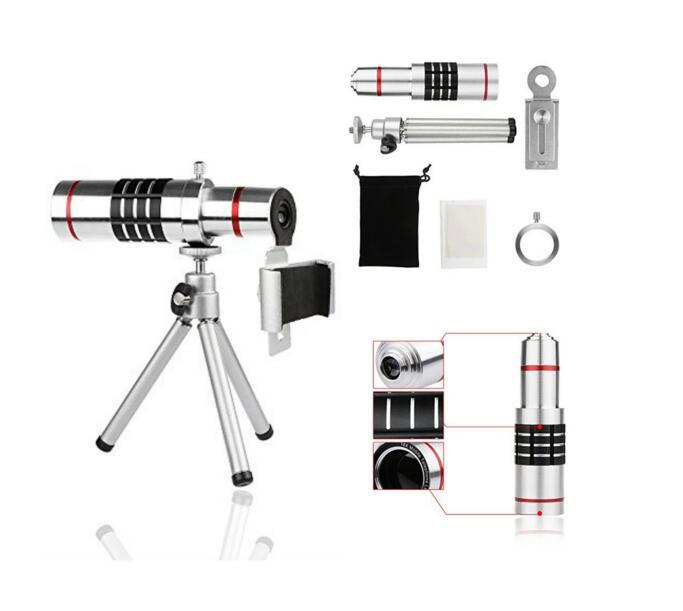 Kit de cámara: 18x Lupa de aluminio Teleobjetivo + Paño de limpieza - Cámara y foto