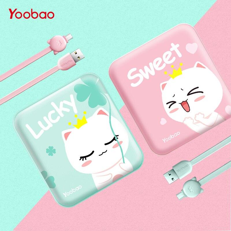 Yoobao Banco lindo de la energía 10000 MAH para Xiaomi Mi 2 USB pequeño banco Portable batería externa PoverBank para oukitel teléfono