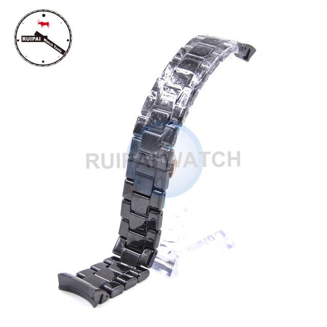 22mm Homem Pulseira de Relógio de Cerâmica Cor Preta Borboleta Fivela Pulseira Pulseira de Cerâmica para AR1410 AR1400